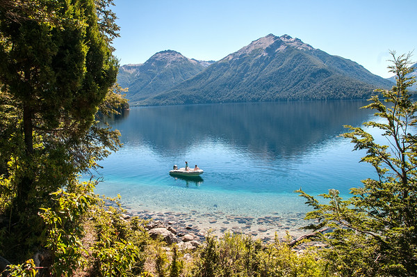 Fishermen at Lake Traful, Patagonia, Argentina