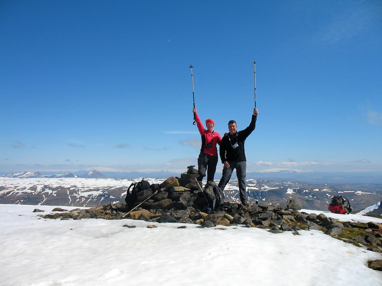Gerður og Stefán fagna.