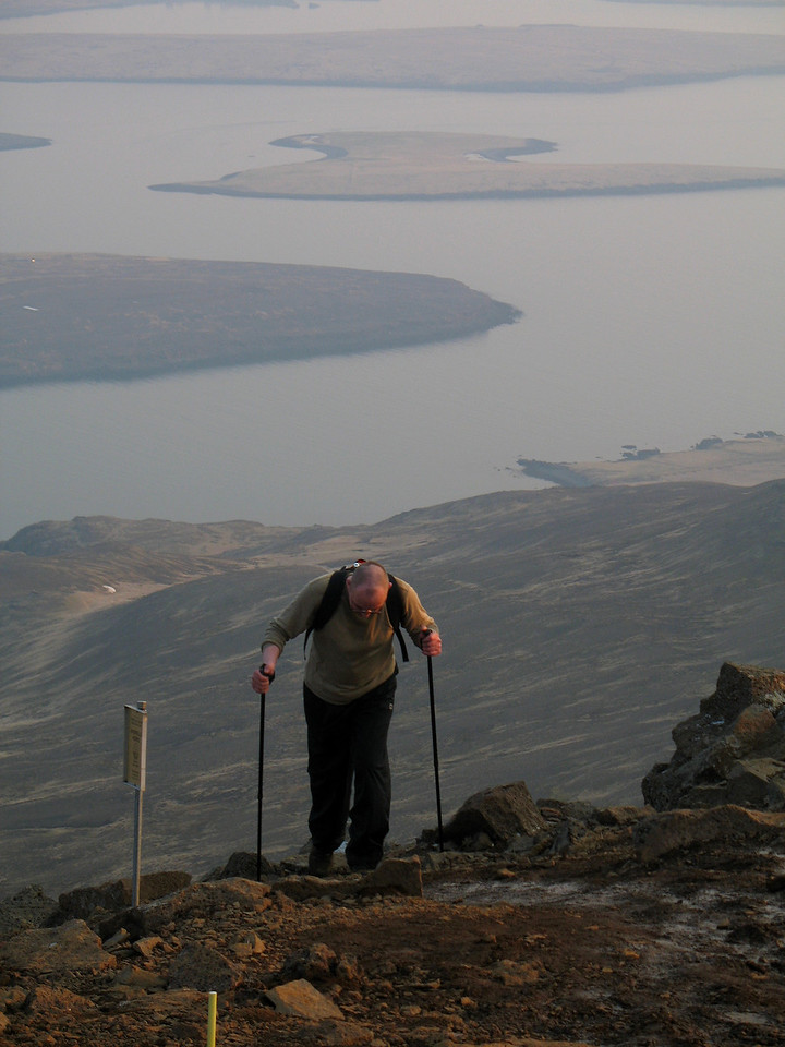 My brother Bjarni arrives at the top - somewhat worse for wear :-)