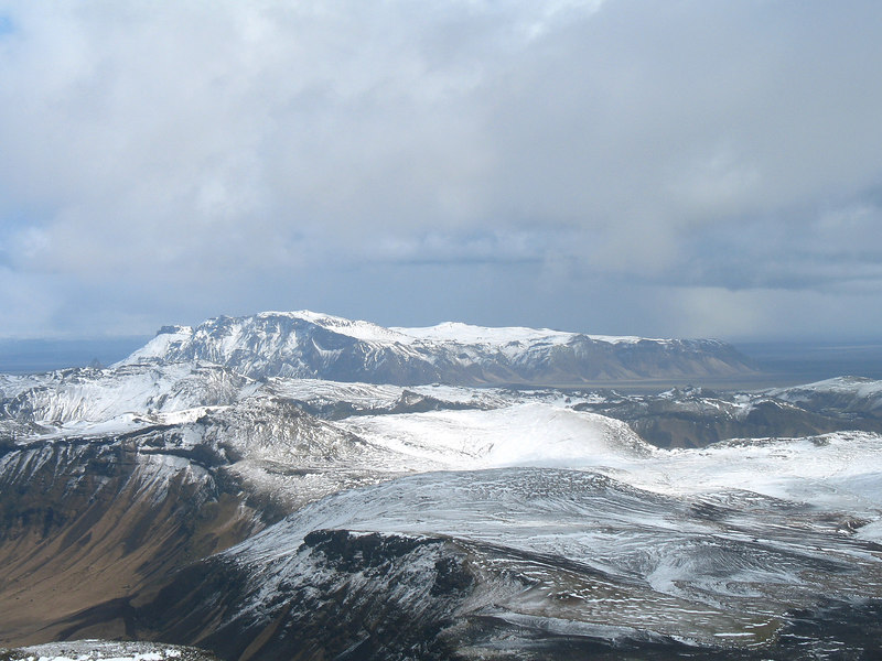 Litið til Hafurseyjar af toppi Höttu, þangað var ferðinni heitið.
