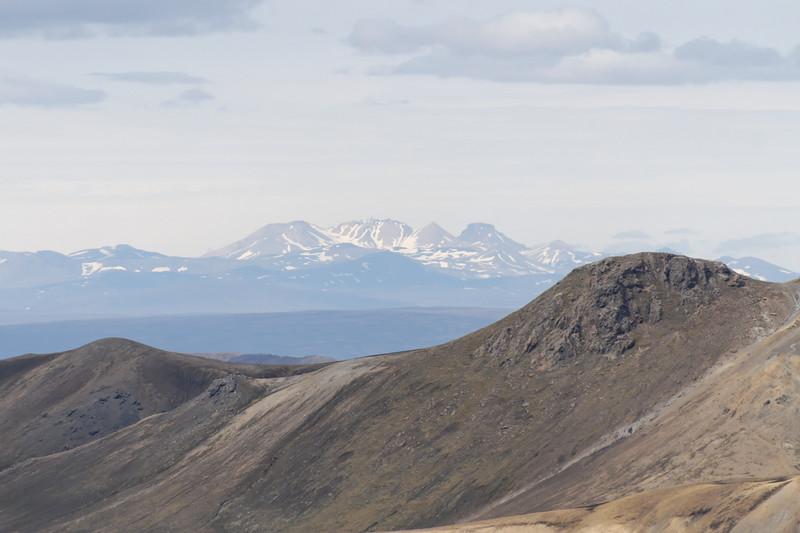 Dagur 1, 15:20. Hér er horft til Kerlingarfjalla í norðvestri - talsverður aðdráttur.
