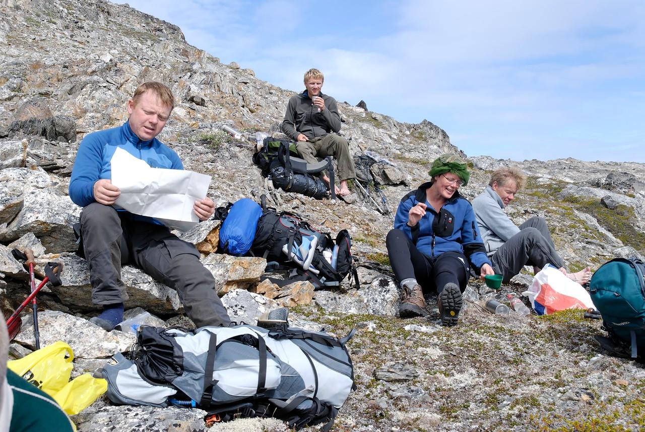 Dagur 5, 11:13. Stund milli stríða, Gunnar, Snorri, María og Rögnvaldur.