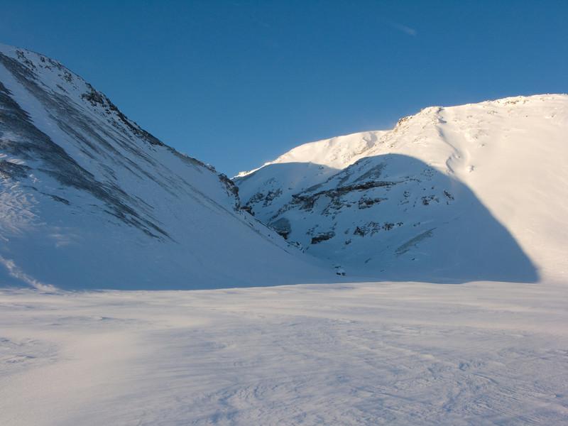 Horft inn í gilið þar sem við áðum 2007.
