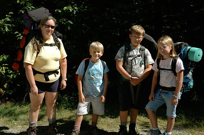 We're ready to head out on our first backpacking trip, at the Zealand trailhead in NH White Mountains.