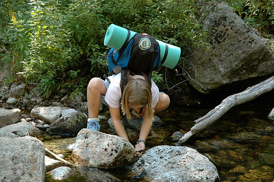 Mara pauses for a rest at a stream crossing, on our way into Zealand notch.