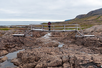 Rebekka á fyrri brúnni yfir Eyvindarfjarðará