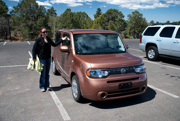 2011-05 Grand Canyon, Day 1 - Grand Canyon Village  Melissa with the rental car