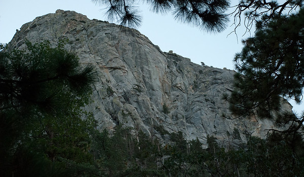 2011-09 Tahquitz Rock, The Trough (5.4)  A little wider angle.  This is the view from the parking lot.