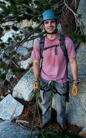 2011-09 Tahquitz Rock, The Trough (5.4)  Ready to belay.  Jason led all the pitches, which is and will be the plan for a while.  Cleaning gear as the second is good experience for me to eventually lead.