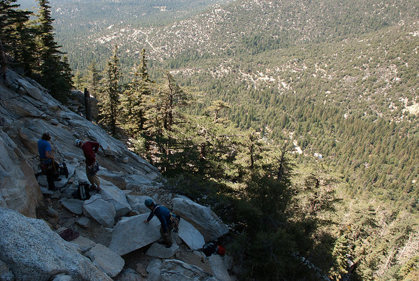 2011-09 Tahquitz Rock, The Trough (5.4)  Waiting for our turn to start climbing The Trough.