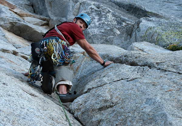 2011-09 Tahquitz Rock, The Trough (5.4)  Jason climbing the first pitch of the day.