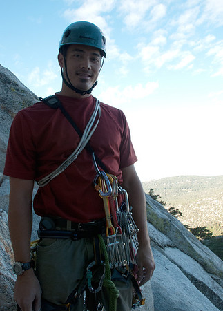 2011-09 Tahquitz Rock, The Trough (5.4)  Jason, ready to lead the first pitch of the day