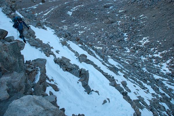 2011-10 Bishop Pass to South Lake, Day 3  Jason headed down the Bishop Pass switchbacks
