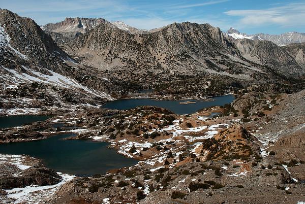 2011-10 South Lake to Dusy Basin, Day 1  Bishop Lake from Bishop Pass