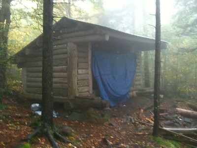 Moose Mountain shelter, in the early morning rain.