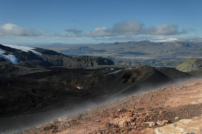 Looking north-west from Magni, the smaller crater Móði can be seen right of centre.