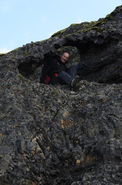 Fred coming through the hole at Heljarkambur
