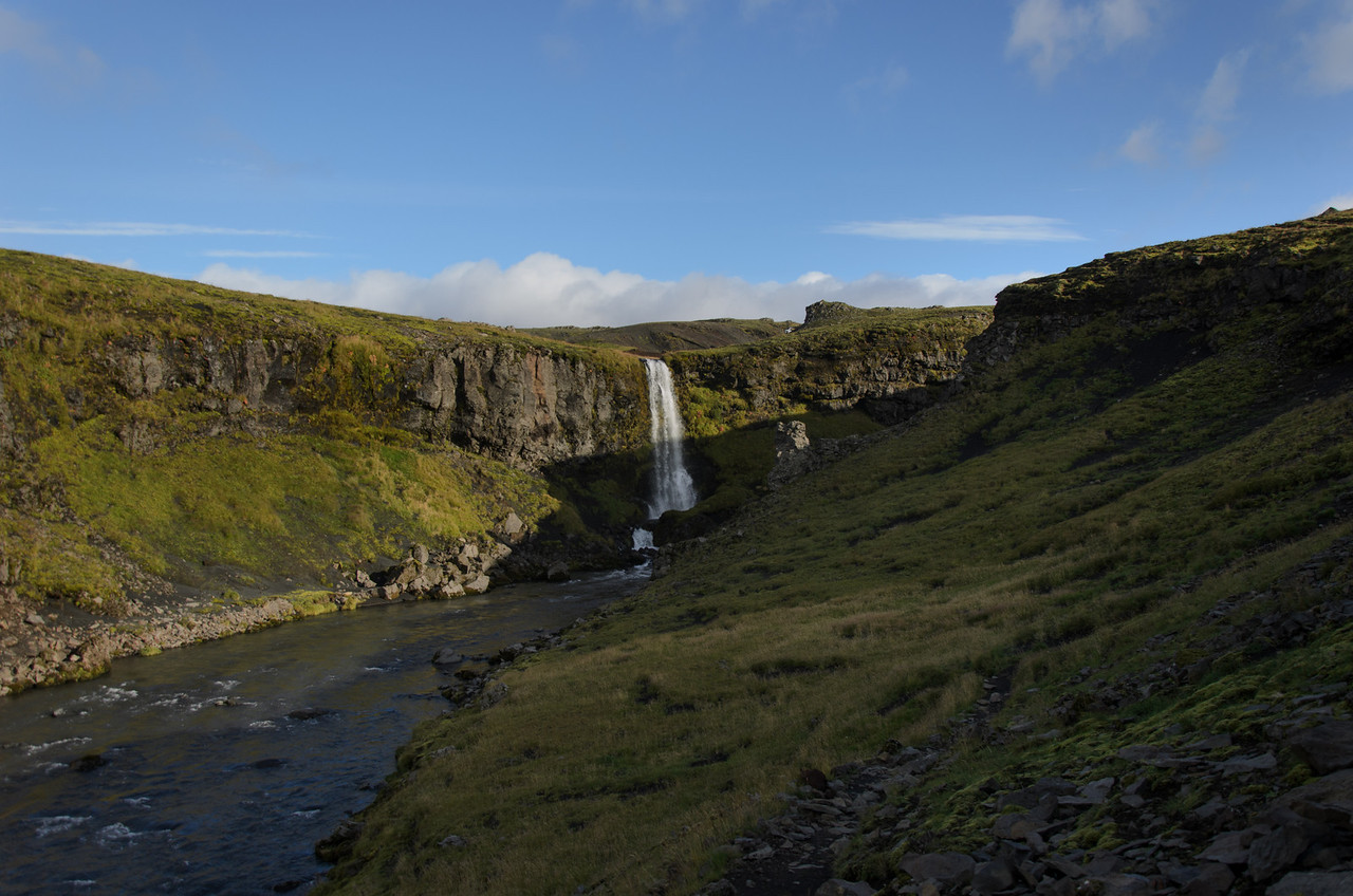 This waterfall is in a small tributary of the Skógaá river