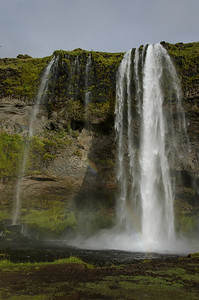 A cloesup of Seljalandsfoss - there is a footpath behind the waterfall