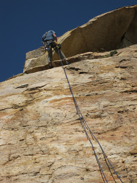 2012-02 El Cajon Mountain, Bright Eyes (5.6)  Jason rappelling