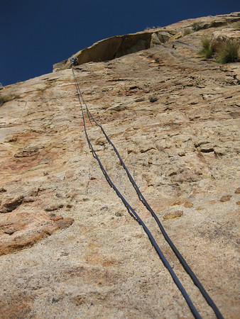 2012-02 El Cajon Mountain, Bright Eyes (5.6)  Jason setting up for rappel.