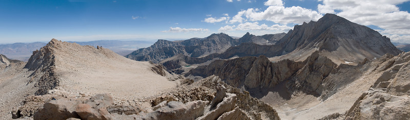 2012-09 Mt. Russell, Day 2  Panorama with Mt. Carillon on the left and Mt. Whitney on the right