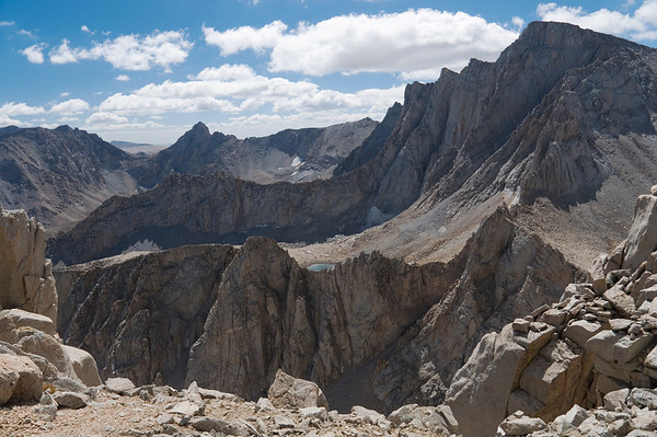2012-09 Mt. Russell, Day 2  Mt. Whitney at the right as seen from Mt. Russell's East Ridge