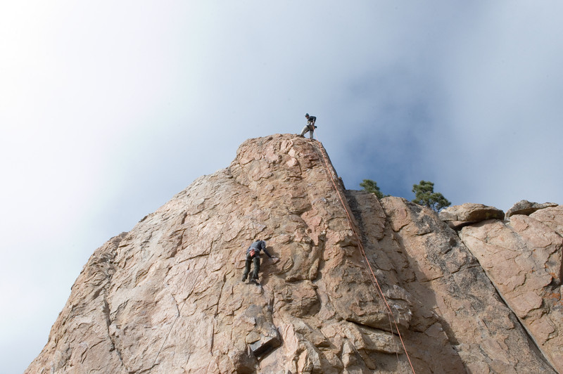 2012-11 Holcomb Valley  At the anchor on Bye Crackie (5.7), Nadia on Coyotes At Sunset (5.8)