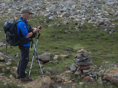 Gatnamótin sett í tækið - við ætlum til vinstri niður í Miðvík