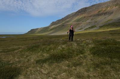 Gamlar tóftir í Miðvík - þó sennilega ekki bæjarhús því engin er hvönnin
