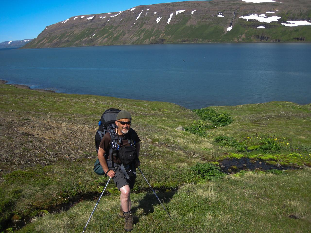 Á þessari mynd má greina bogalögun berglaga í Lónanúpi handan Hrafnfjarðar.