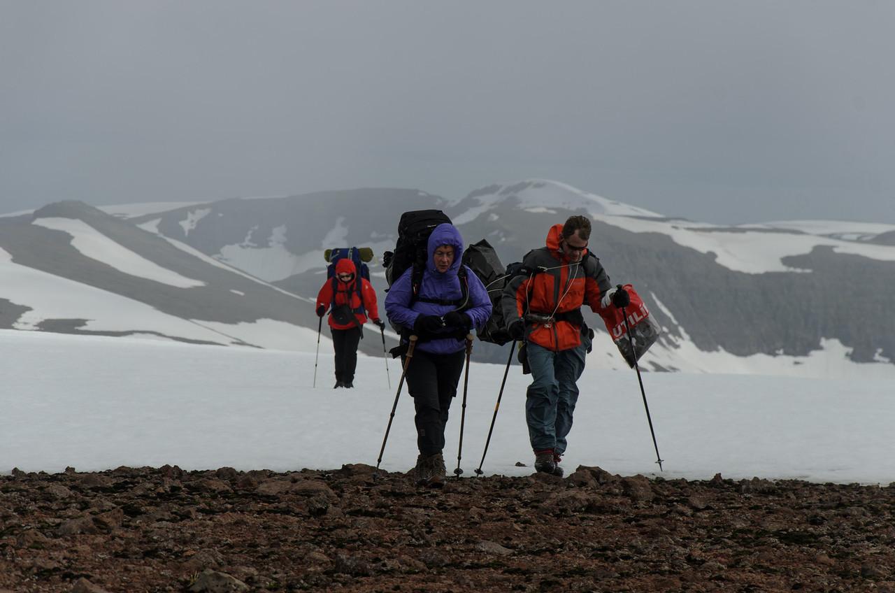 Vont veður á Vatnalautafjöllum! Hér erum við að ná 620 metra hæð, héðan hallar niður til Kjaransvíkurskarðs