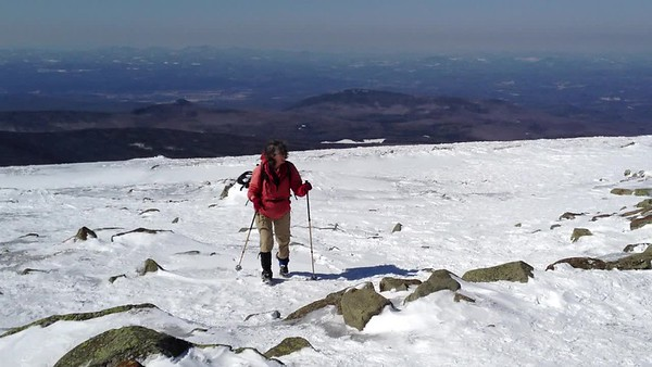 Kathy approaches the summit of Moosilauke.