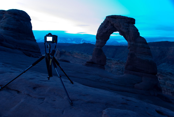 2013-04 Arches National Park, Delicate Arch Sunrise  After hiking 1.5 miles from cairn to cairn in the dark, this was my first view of Arches National Park