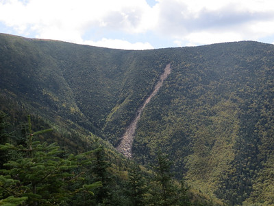 New (2011) slide in Tunnel Brook Ravine on Mount Moosilauke, photographed by Steve Smith on 9/4/13.