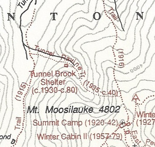 Map of Moosilauke from David Hooke's history of the DOC. This close-up focuses on Tunnel Brook Ravine.