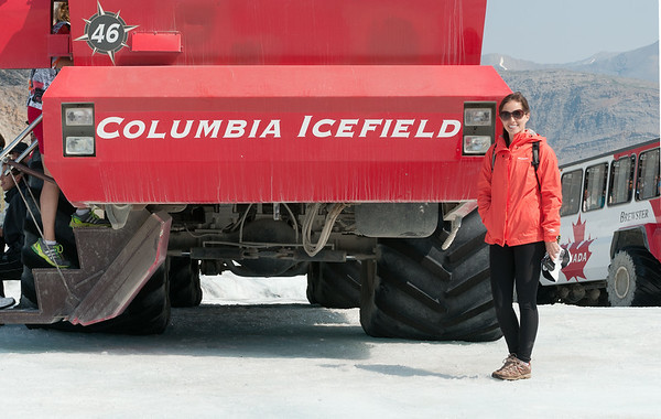 2014-07 Columbia Icefield Melissa with Grave Digger