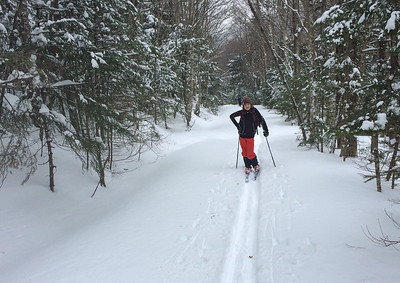 Sam skis into Moosilauke.