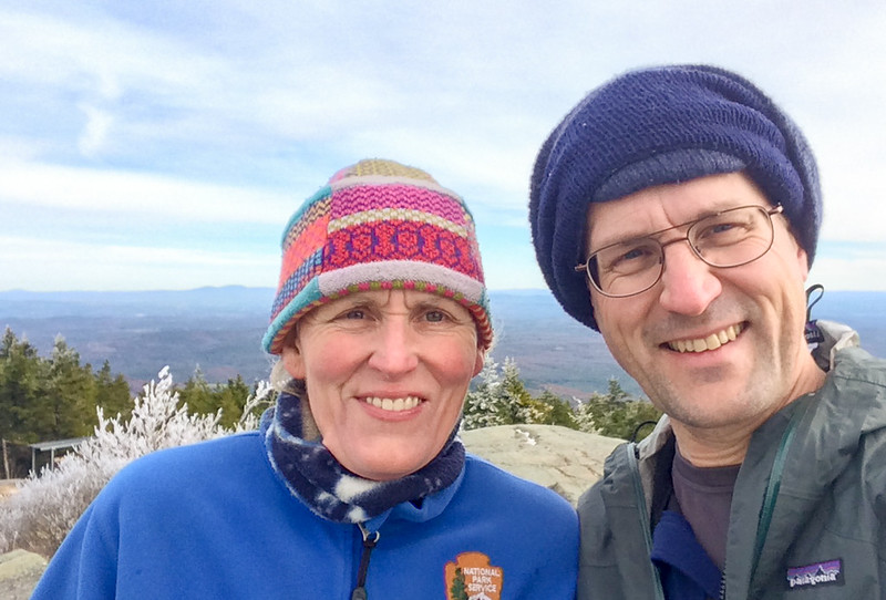 Lelia and Dave on the Summit of Mount Kearsarge after a frosty night.