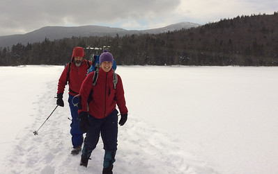 Jen and David - departing Lonesome Lake hut in Franconia Notch, NH.