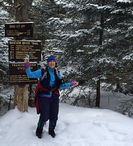 Jen Botzojorns nears completing our hike to Lonesome Lake hut in Franconia Notch, NH.
