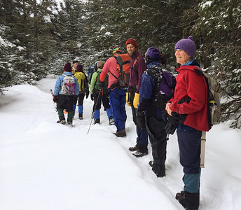Jen Botzojorns' 50th birthday party - a hike to Lonesome Lake hut in Franconia Notch, NH.