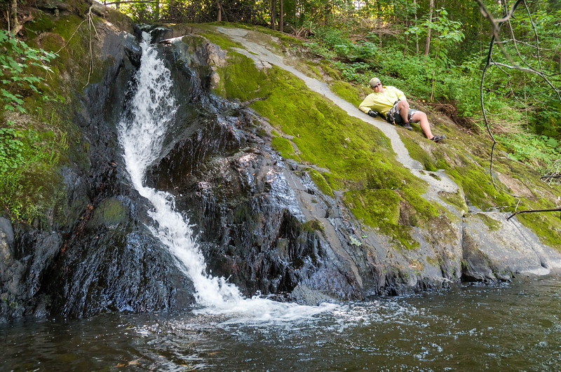 John explores a Vermont stream entering the Connecticut River during our Canoe Trip 2015.