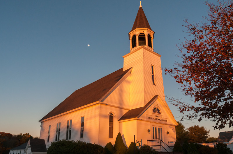 Sunrise at the First Congregational Church, Scarborough, ME.
