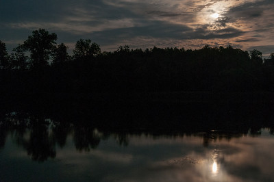 Moonrise from Roaring Brook campsite; Connecticut River Canoe Trip 2015.