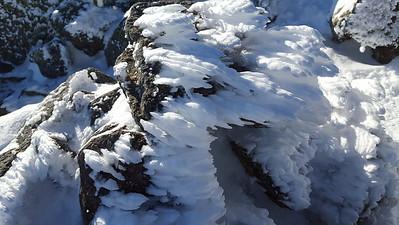 A closeup of rime ice
