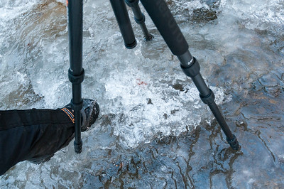 Microspikes and tripods allow work on the ice at Gerry Falls, along the Windsor trail up Mount Ascutney.