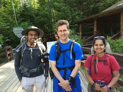 Shirang, David, and Aarathi are ready to head out on their Franconia Traverse.