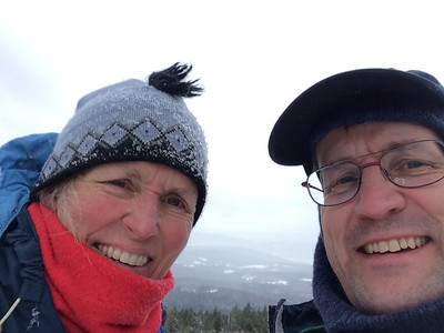 Lelia and David on summit of Mount Cube, on a snowy December day.