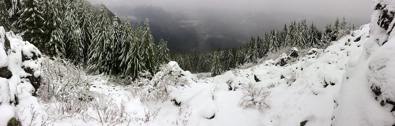 Panoramic 'view' of Snoqualmie valley from a viewpoint on Mount Si, east of Seattle Washington.
